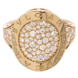 Bulgari 18K Rose Gold Pave Diamonds Ring Size 8.25