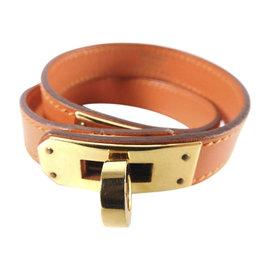 Hermes Gold Tone Hardware and Leather Kelly Double Tour Bangle Bracelet