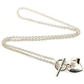 Hermes Sterling Silver & 18K Yellow Gold Heart Pendant Necklace