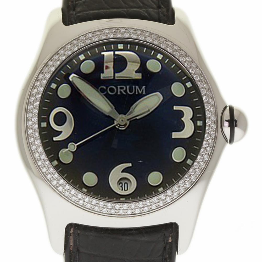 "Image of ""Corum Bubble 163.150.20 Stainless Steel Leather Diamond Quartz 45mm"""