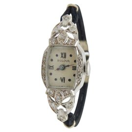 Bulova 5AH 14K White Gold & Canvas with 0.25cttw Diamond Manual 16mm Vintage Womens Watch