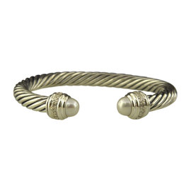 David Yurman 925 Sterling Silver with Pearls and Diamonds Cable Classics Bracelet