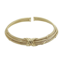 David Yurman 14K Yellow Gold Cable Crossover Vintage Necklace