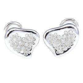 Tiffany & Co. Platinum Heart Pave Diamond Earrings