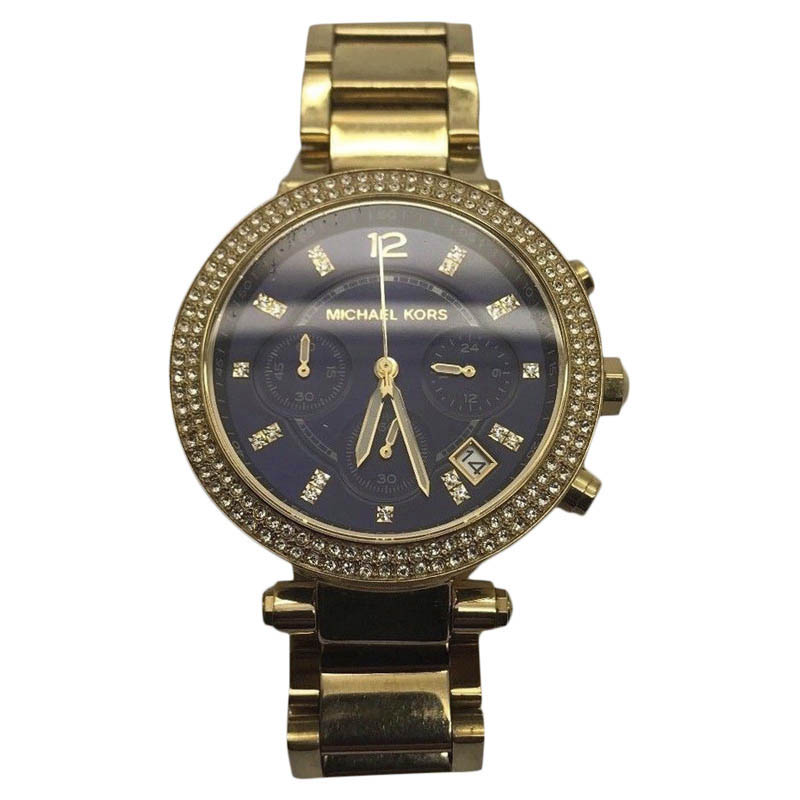 "Image of ""Michael Kors Mk6262 Gold Plated Stainless Steel Navy Blue Dial Quartz"""
