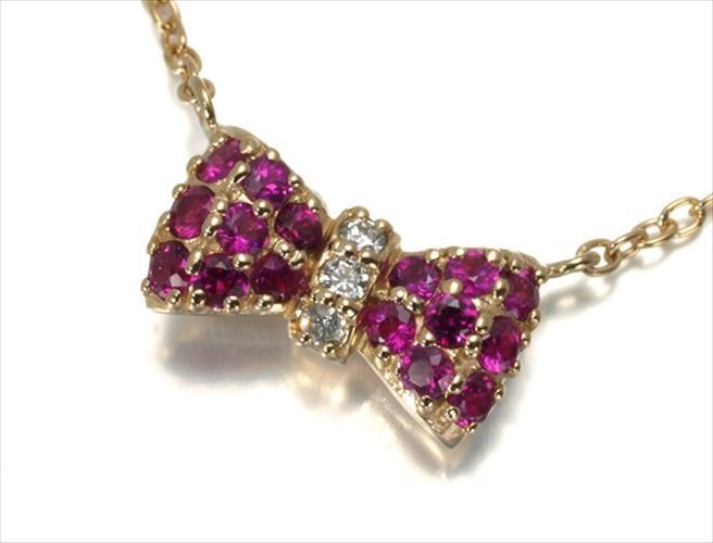 "Image of ""Ponte Vecchio 18k Rose Gold Ruby Diamond Ribbon Motif Necklace"""