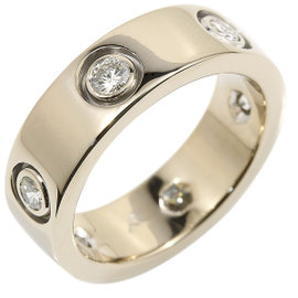 Cartier Love 18K White Gold & 6P Diamond Ring Size 4.75