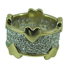 Tiffany & Co. Jean Schlumberger 18K Yellow Gold and Platinum with Diamond Band Ring Size 5.25