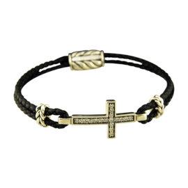 David Yurman 925 Sterling Silver & Leather with Gray Sapphire Cross Bracelet