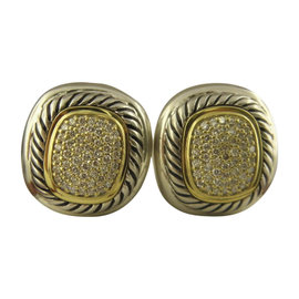David Yurman 925 Sterling Silver and 18K Yellow Gold with Diamond Albion Earrings