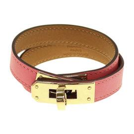 Hermes Kelly Gold Tone Hardware Swift Rose Azalee Leather Double Tour Bracelet