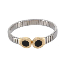 Bulgari Tubogas 18K Yellow Gold & Stainless Steel Onyx Bracelet
