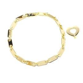 Cartier 18K Yellow Gold Fidelity Heart Key Bar Chain Bracelet
