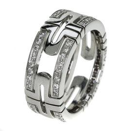 Bulgari 18K White Gold Diamond Open Palentai Ring Size 5.5