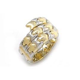 Bulgari Tubogas 18K Yellow & White Gold Ring Size 6.5