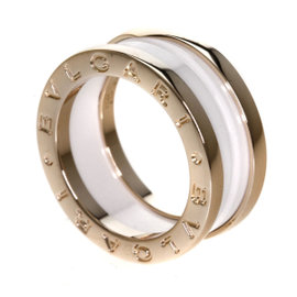 Bulgari B-Zero1 18K Pink Gold & Ceramic Ring Size 4.25