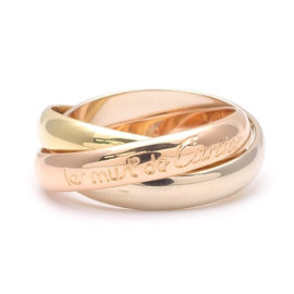 Cartier Trinity 18K White Gold, Yellow Gold and Rose Gold Ring Size 4.75