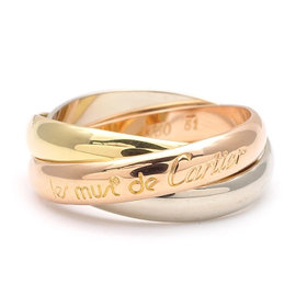 Cartier Trinity 18K White Gold, Yellow Gold and Rose Gold Ring Size 5.75
