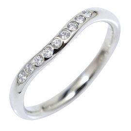 Tiffany & Co. 950 Platinum & Diamond Curved Wedding Band Ring Size 4.5