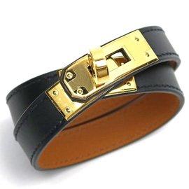 Hermes Black Veau Swift & Gold Tone Hardware Kelly Double Tour Bracelet