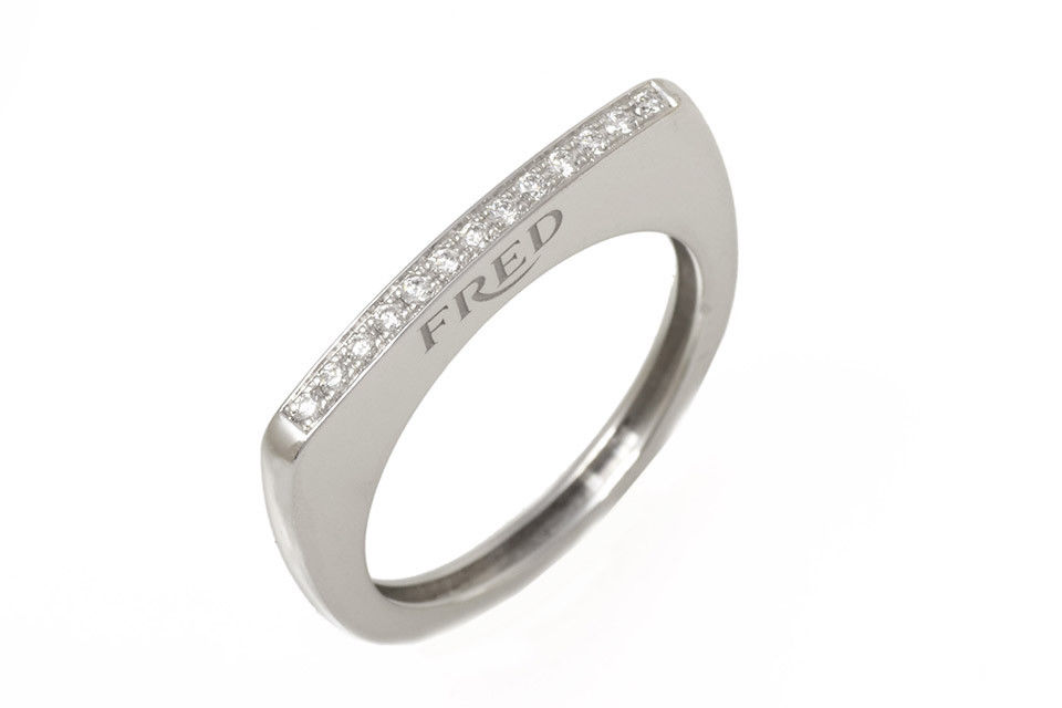 "Image of ""Fred of Paris 18k White Gold Diamond Ring Size 7"""