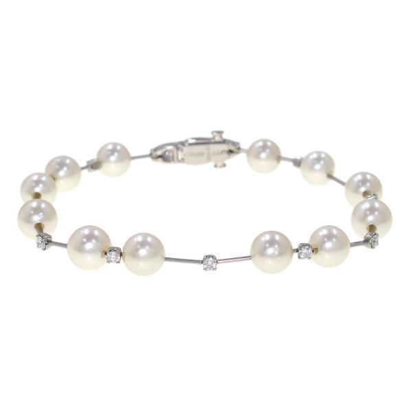 "Image of ""Tasaki Pt900 Platinum with Pearl & 0.43ct. Diamond Bangle Bracelet"""
