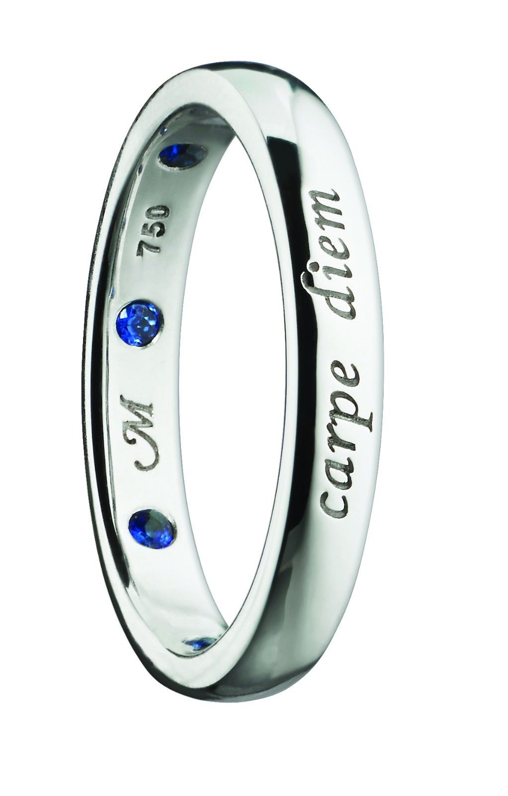 "Image of ""Monica Rich Kosann Carpe Diem 18K White Gold with Sapphires Poesy Ring"""