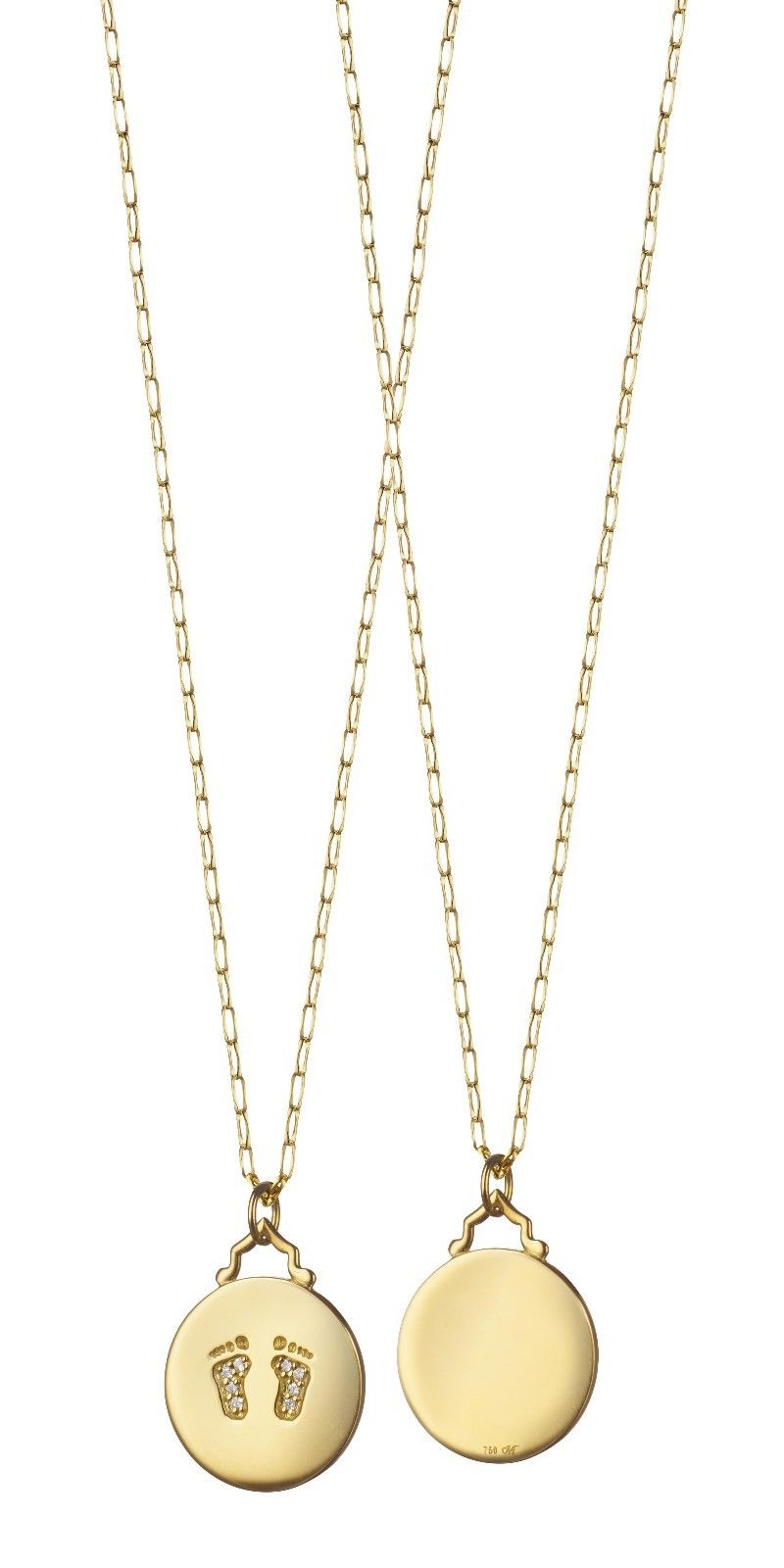 "Image of ""Monica Rich Kosann 18K Yellow Gold & Diamond Baby Feet Charm Necklace"""