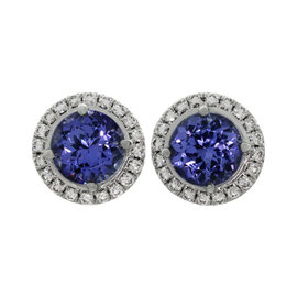 Tiffany & Co. Seleste 950 Platinum Tanzanite Diamond Stud Earrings