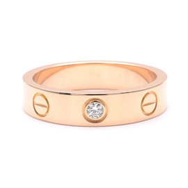 Cartier Mini Love 18K Rose Gold with 1P Diamond Ring Size 4