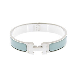 Hermes Clic H PM Vert Aqua Enamel, Palladium Bangle Bracelet