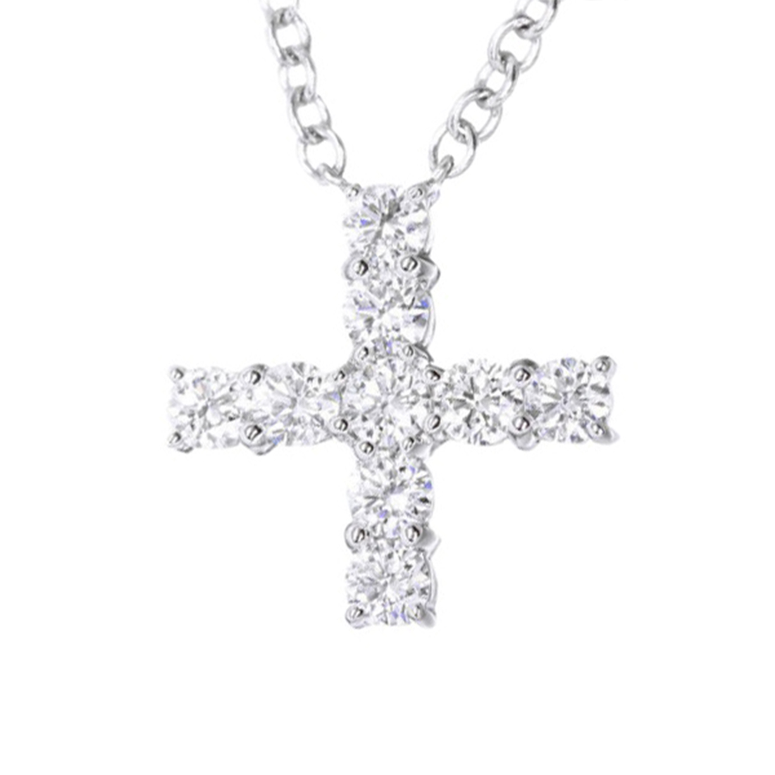 "Image of ""Harry Winston 950 Platinum with Diamond Mini Cross Pendant Necklace"""