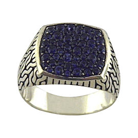 John Hardy 925 Sterling Silver Naga Blue Sapphire Signet Ring Size 10