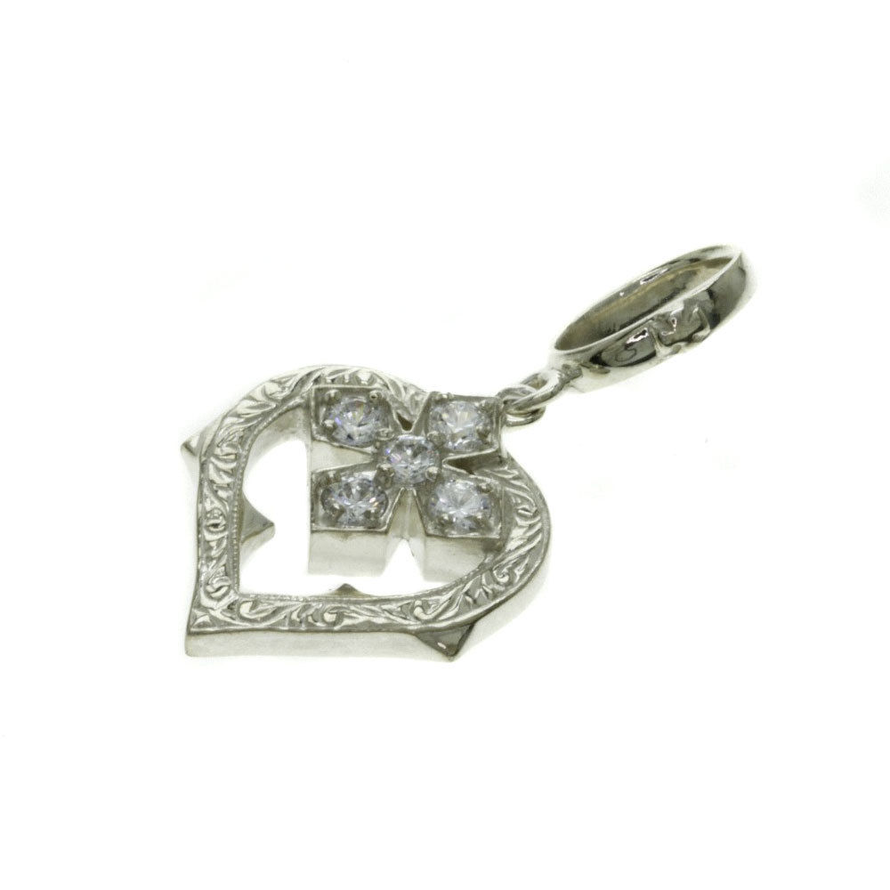 "Image of ""Loree Rodkin 925 Sterling Silver with Cubic Zirconia Cross Heart"""