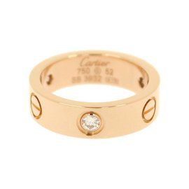 Cartier Love 18K Pink Gold with Diamond Ring Size 6