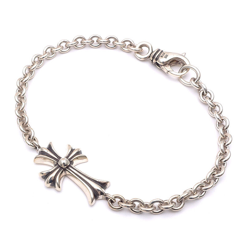 "Image of ""Chrome Hearts 925 Sterling Silver Chain Tiny Cross Bracelet"""