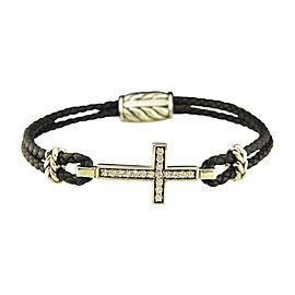 David Yurman 925 Sterling Silver Leather Gray Sapphire Pave Cross Bracelet