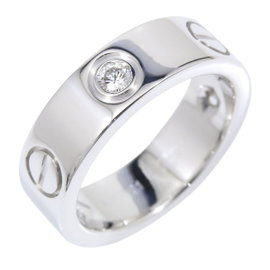 Cartier Love 18K White Gold with 3P Half Diamond Ring Size 5