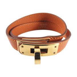 Hermes Kelly Gold Tone Hardware & Leather Double Tour Bangle Bracelet
