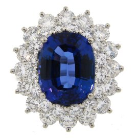 TIiffany & Co. Platinum 3.69ct Tanzanaite and Diamond Ring Size 6