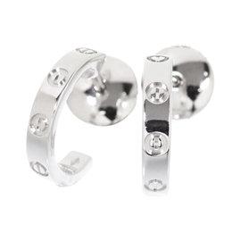 Cartier Mini Love 18K White Gold Pierced Earrings