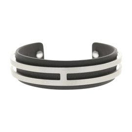 Hermes Silver Tone Hardware Leather Black H Motif Bracelet