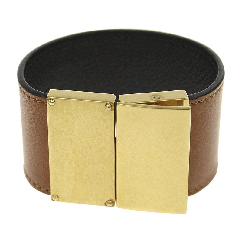 "Image of ""Celine Classic Gold Tone Hardware Calf Leather Bracelet"""