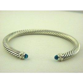 David Yurman 925 Sterling Silver Blue Topaz Diamonds Cable Classics Bracelet