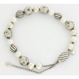David Yurman 925 Sterling Silver with Pearl Elements Bead Bracelet