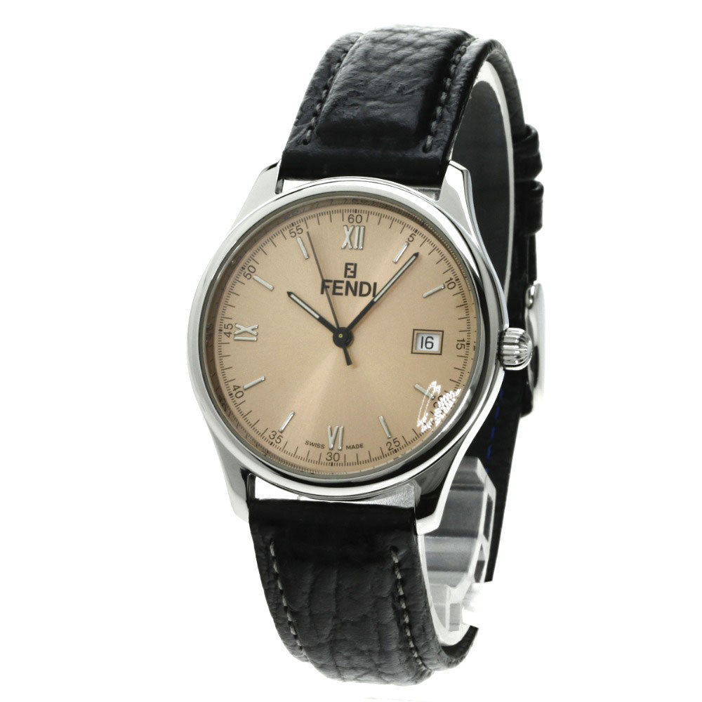 "Image of ""Fendi 210G Stainless Steel/Leather 34mm Mens Watch"""