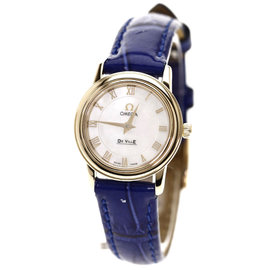 Omega Deville Gold Plated & Leather Quartz 22mm Womens Watch