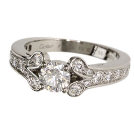 Cartier PT950 Platinum with 0.50ct Diamond Ballerina Ring Size 4.75
