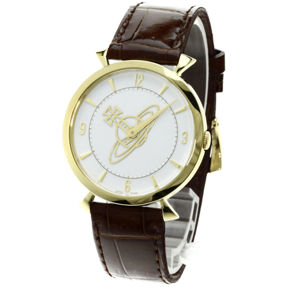 "Image of ""Vivienne Westwood Vw-7843N Gold Plated & Leather Quartz 35mm Womens"""