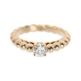 Van Cleef & Arpels Perlee 18K Pink Gold with Solitaire Diamond Ring Size 3.5